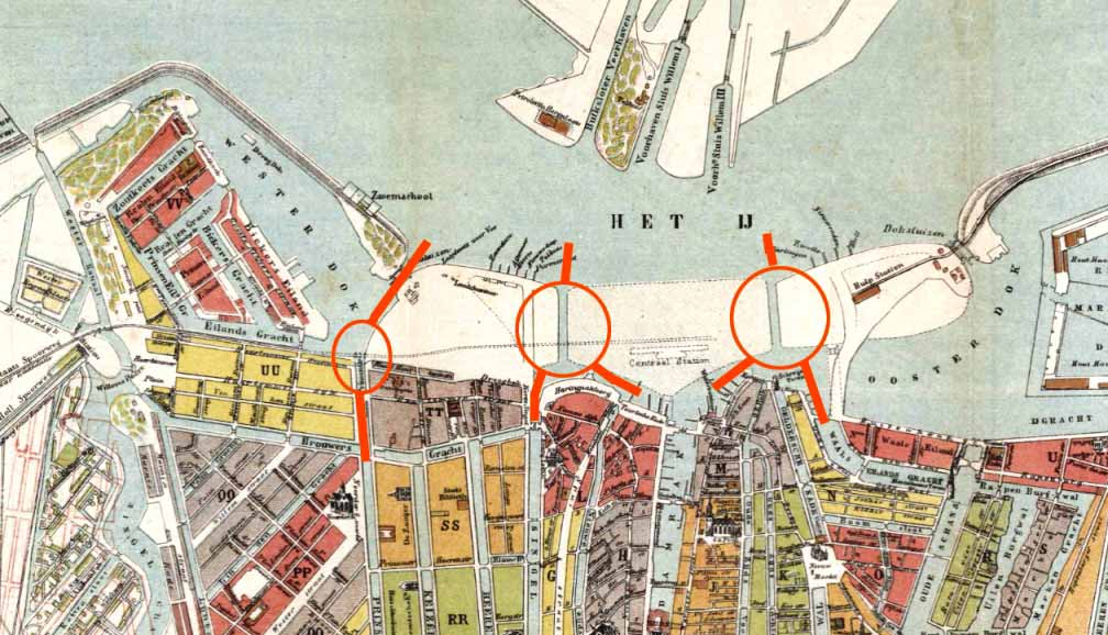 kaart Amsterdam 1875, de drie eilanden ingetekend