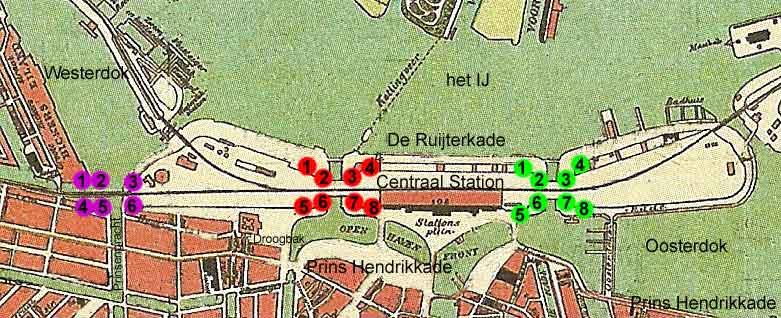 overzichtkaart standplaats 22 leeuwen bij Centraal Station Amsterdam